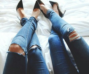 girls, jeans, and shoes image