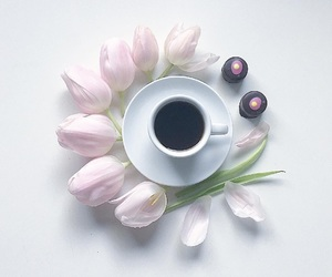coffee, cup, and flowers image