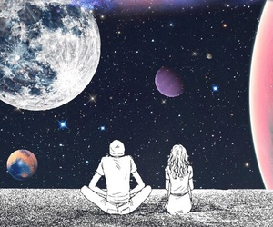 couple, planets, and stars image