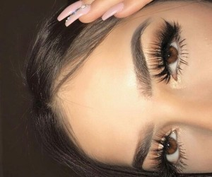 beauty, brown eyes, and eyebrows image