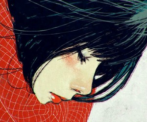 girl, art, and red image