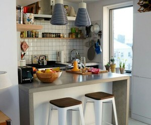 apartment, home decor, and small kitchen image