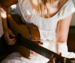 girl, guitar, and vintage image