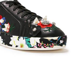 black, embroidered, and floral image