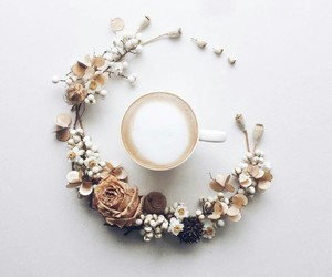 flowers, coffee, and white image
