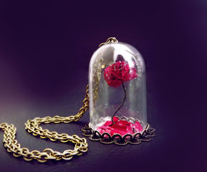 beauty and the beast, vial necklace, and etsy image