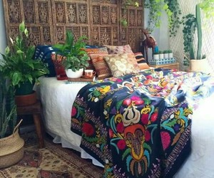 bedroom, interior, and boho image