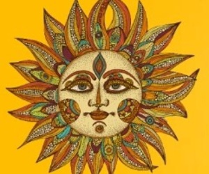 sun, drawing, and hippie image