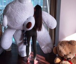 girl, teddy, and teddy bear image