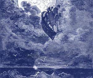 moon, night, and ship image