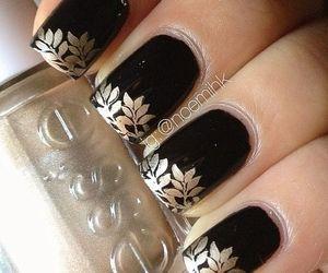 nails, nail polish, and black image