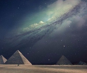 pyramid, egypt, and stars image
