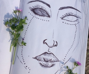 draw, eyes, and flowers image