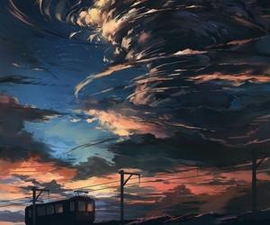 art, sky, and anime image