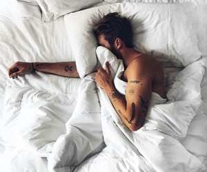boy, bed, and tattoo image