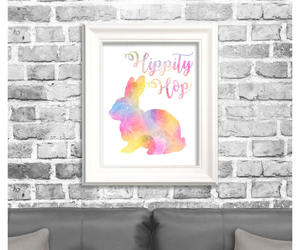 easter bunny, etsy, and watercolor art image