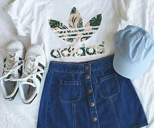 adidas, outfit, and skirt image