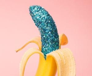 banana, blue, and glitter image