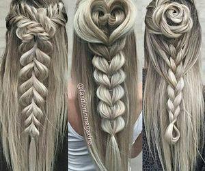 art, grey hair, and rose image