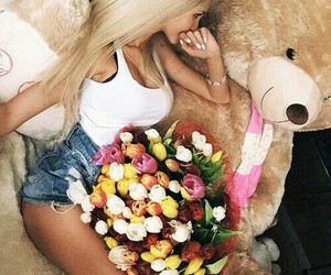 blonde, bouquet, and Valentine's Day image