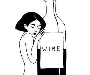 wine, girl, and art image