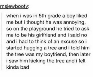 boyfriend, funny, and tree image