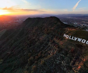 los angeles and hollywood sign image