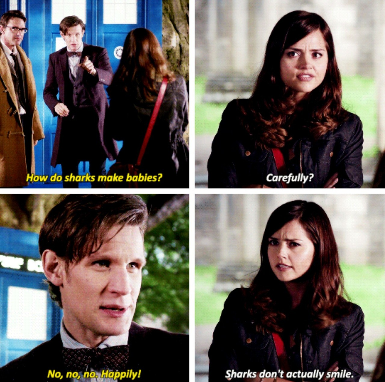 Image result for clara oswald sharks don't actually smile