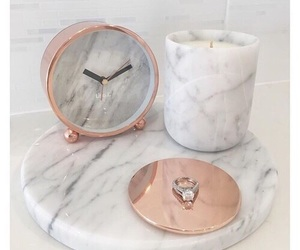 clock, marble, and rose gold image