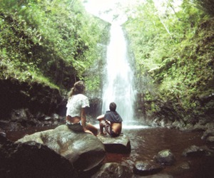 waterfall, couple, and water image
