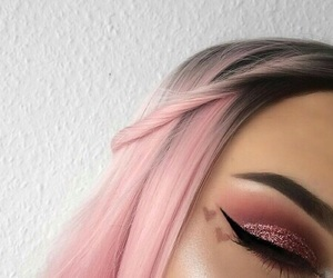 pink, makeup, and hair image