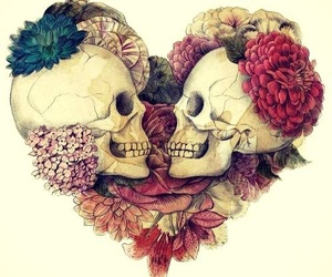 skull, love, and flowers image
