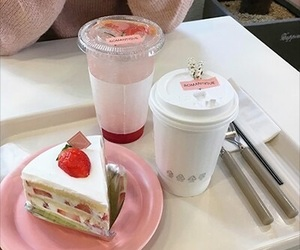 food, pink, and cake image