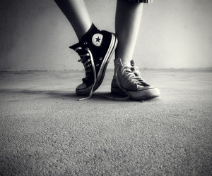 black, converse, and white image