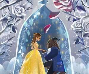 disney, beauty and the beast, and art image