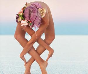 yoga, flowers, and beach image