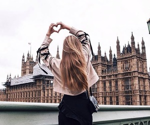 city, hair, and heart image