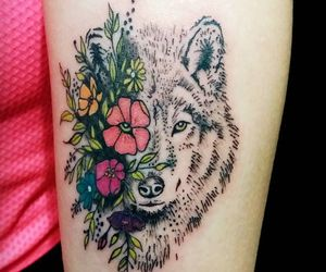 tattoo, flowers, and wolf image