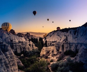 hot air balloon, sunset, and travel image