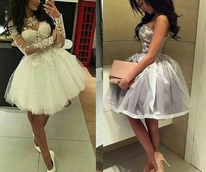 brown hair, white dress, and dress image