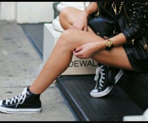 black, converse, and girl image