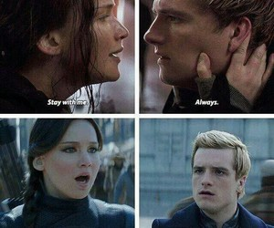 hungergames, peeta, and kateniss image