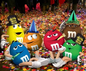chocolate, m&m's, and newyear image