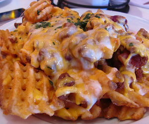 cheesy, food, and fries image