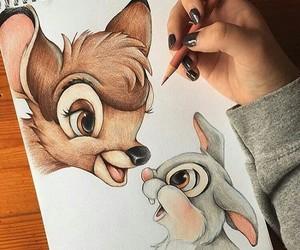 art, drawing, and bambi image