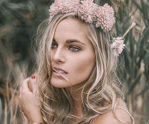 fashion, flower crown, and make up image