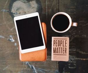 coffee, book, and ipad image