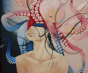 girl, illustration, and octopus image