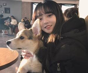 girl, dog, and korean image
