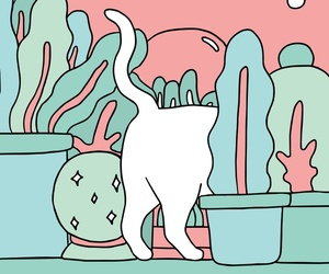cat, plants, and cute image